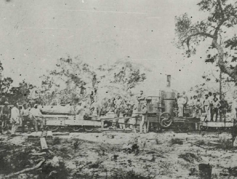 Pettigrew's pioneer locomotive at work in the Cooloola forest c.1873